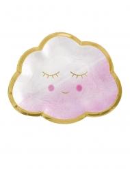 8 Petites assiettes en carton nuage rose et or 17 cm