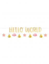 2 Guirlandes en carton Hello World rose et or 1,77 m