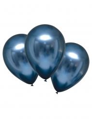 6 Ballons en latex bleu marine satinés 28 cm