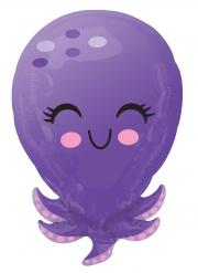 Ballon en aluminium pieuvre violette 53 x 35 cm