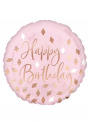 Ballon en aluminium Happy Birthday rose confettis rose gold 43 cm