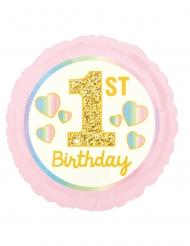 Ballon en aluminium 1st birthday rose et doré 43 cm