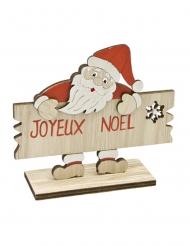 Père Noël en bois et pancarte Joyeux Noël 12 x 10,5 cm