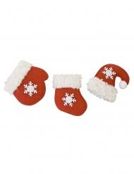 3 Décorations de table moufle botte et bonnet de Noël 4,5 cm
