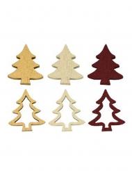 12 Confettis de table en bois sapins dorés marsala 2,5 cm
