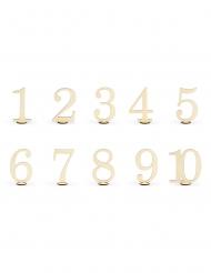10 Numéros de table en bois 10,5 cm