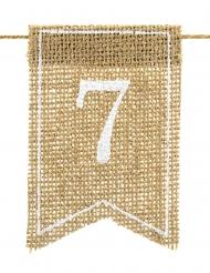 20 Numéros de table en toile de jute 7 x 10,5 cm
