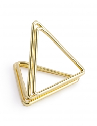 10 Supports marque-places triangles dorés 2,3 cm
