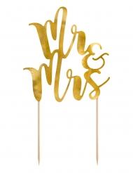 Pic à gâteau Mr & Mrs doré mariage 25,5 cm