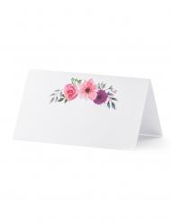 25 Marque-places en carton florals 9,5 x 5,5 cm
