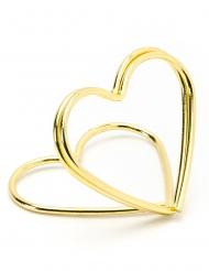 10 Supports marque-places coeurs dorés 2,5 cm