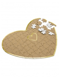 Livre d'or puzzle cœur en kraft 85 pièces 45 x 35,5 cm