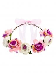 Couronne de fleurs roses 17 cm