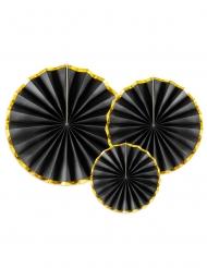 3 Rosaces en carton noir et or 23, 32 et 40 cm