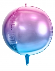 Ballon rond en aluminium dégradé rose et bleu 35 cm