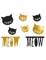 8 Confettis chat en papier noir et or 4, 6 et 10 cm