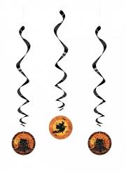 3 Suspensions spirales sorcière et manoir hanté 66 cm