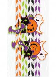 8 Pailles en carton rayées Halloween chat et citrouille