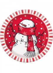 8 Petites assiettes en carton bonhomme de neige rouge 18 cm