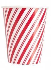 8 Gobelets en carton bonhomme de neige rouge 266 ml
