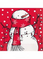 16 Serviettes en papier bonhomme de neige rouge 33 x 33 cm