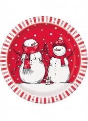 8 Assiettes en carton bonhomme de neige rouge 23 cm