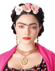 Perruque tresses enroulées avec fleurs femme
