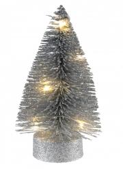Sapin lumineux en métal argenté 10 x 3,5 cm