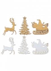 12 Confettis en bois Cerf enchanté blancs et dorés 3 x 3 cm