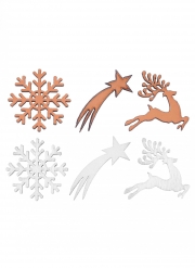 12 Confettis en bois Noël enchanté blancs et rose gold 3 x 3 cm