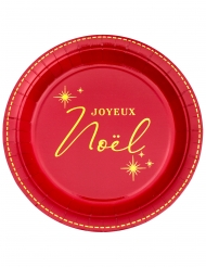 10 Assiettes en carton Joyeux Noël rouges et dorées 23 cm