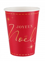 10 Gobelets en carton Joyeux Noël rouges et dorés 7,8 x 9,7 cm