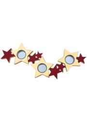 Porte bougie en bois et métal étoiles rouge et or 40 x 13 x 2 cm