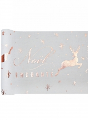Chemin de table en coton Noël enchanté rose gold 3 m x 28 cm