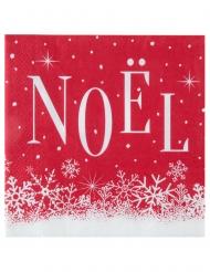 20 Petites serviettes en papier Noël enneigé rouges 16,5 x 16,5 cm