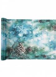 Chemin de table en polyester Noël givré 5 m x 30 cm