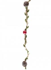 Guirlande naturelle rouge sapin et pommes de pin 110 cm