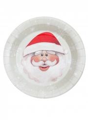 10 Assiettes en carton Père Noël rouge 23 cm