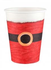 10 Gobelets en carton Père Noël rouge 7,8 x 9,7 cm
