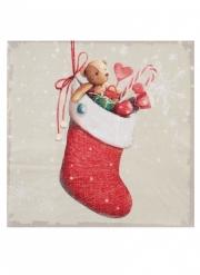 20 Petites serviettes en papier Père Noël rouge 16,5 x 16,5 cm