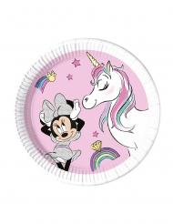 8 Assiettes en carton compostable Minnie et la licorne™ 23 cm