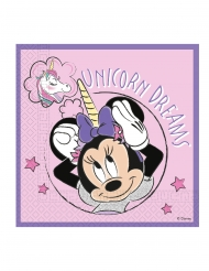 20 Serviettes en papier compostable Minnie Licorne™ 33 x 33 cm