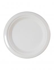 10 Assiettes en fibre de canne blanches 23 cm