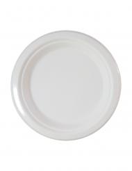 10 Petites assiettes en fibre de canne blanches 18 cm