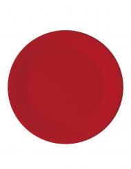 8 Assiettes en carton compostable rouges 23 cm