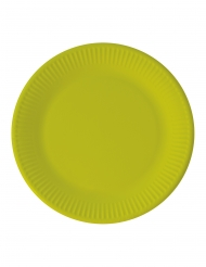 8 Assiettes en carton compostable vert citron 23 cm
