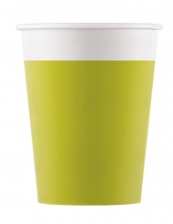 8 Gobelets en carton compostable vert citron 200 ml