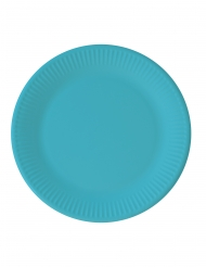 8 Assiettes en carton compostable turquoise 23 cm