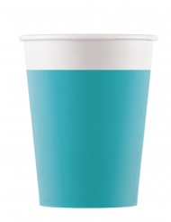 8 Gobelets en carton compostable turquoise 200 ml