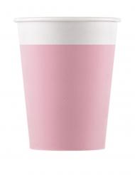 8 Gobelets en carton compostable roses 200 ml
